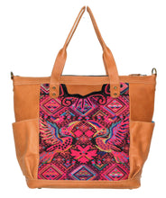 Load image into Gallery viewer, MoonLake Designs Gabriella large convertible day bag in pear tan leather with stunning geometric and toucan handwoven huipil design in pinks, black, and yellows