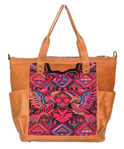 MoonLake Designs Gabriella large convertible day bag in pear tan leather with stunning geometric and toucan handwoven huipil design in pinks, black, and yellows