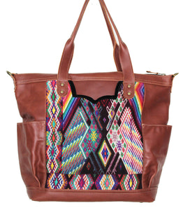 MoonLake Designs Gabriella large convertible day bag in reddish brown leather with eye catching geometric handwoven huipil