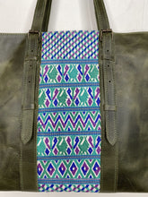 Load image into Gallery viewer, MoonLake Designs Isabella Large Everyday Tote in Dark Green with Blue Huipil Design