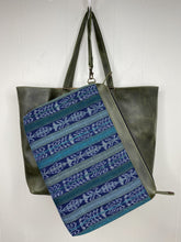 Load image into Gallery viewer, MoonLake Designs handmade Isabella Large Everyday Tote removable compartment in blue huipil