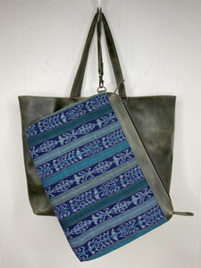 MoonLake Designs handmade Isabella Large Everyday Tote removable compartment in blue huipil