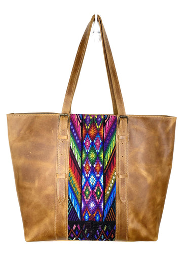 MoonLake Designs handmade unique Isabella Large Everyday Tote in Light Tan Leather with multi-color handwoven huipil design