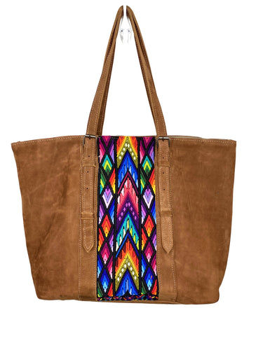 MoonLake Designs handmade unique Isabella Large Everyday Tote in Suede with Sunset Huipil Design including blues pinks reds and purples