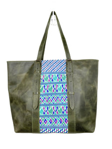 MoonLake Designs handmade unique Isabella Large Everyday Tote in Dark Green Leather with Blue Geometric Huipil Design