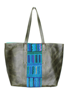 MoonLake Design Isabella everyday tote bag in green leather with blue geometric huipil