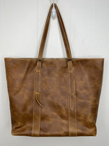 MoonLake Designs Isabella Large Everyday Tote back view with full light tan leather
