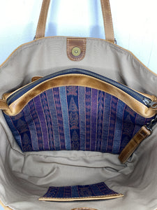 MoonLake Designs Isabella Large Everyday Tote removable textile and leather compartment with a blue and purple huipil design