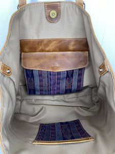 MoonLake Designs Isabella Large Everyday Tote inside view of magnetic closure compartment and open pockets