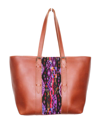 MoonLake Designs Isabella everyday tote bag in reddish brown leather with beautiful geometric huipil