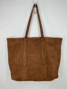 MoonLake Designs handmade unique Isabella Large Everyday Tote in Dark Tan Suede with adjustable straps