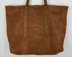 MoonLake Designs handmade unique Isabella Large Everyday Tote in Dark Tan Suede with adjustable straps - close up view