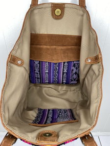 MoonLake Designs Isabella Large Everyday Tote in suede inside view of magnetic and zipper closure compartments
