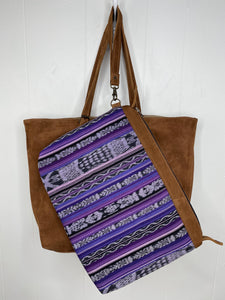 MoonLake Designs Isabella Large Everyday Tote in suede removable compartment in purple huipil