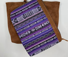 Load image into Gallery viewer, MoonLake Designs Isabella Large Everyday Tote in suede removable compartment in purple huipil