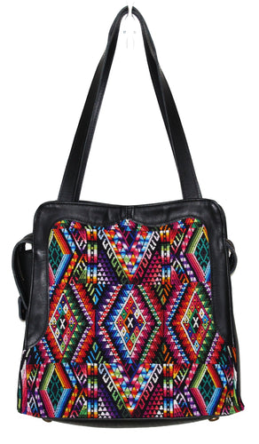MoonLake Bags Ethical Fashion Brand Linda bag in black leather and handwoven geometric huipil