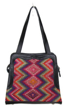 Load image into Gallery viewer, MoonLake Bags Ethical Fashion Brand Linda bag in black leather and handwoven geometric huipil