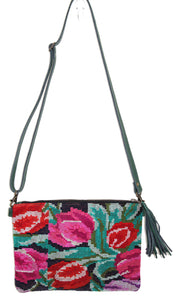 MoonLake Designs Lola small bag in dark green leather with floral huipil