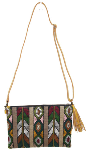 MoonLake Designs Lola small bag in mustard yellow leather, fringe tassel, and geometric huipil