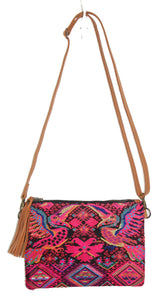 MoonLake Designs Lola small bag in pear tan leather, fringe tassel, and handwoven wildlife and geometric huipil