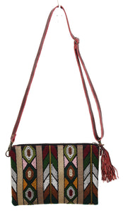 MoonLake Designs Lola small bag in textured red leather, fringe tassel, and geometric huipil