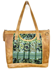MoonLake Designs Olivia Large Tote Bag in light tan handcrafted leather backview with mesmerizing floral huipil design in shades of greens and leather tassel zipper closure with metal hardware