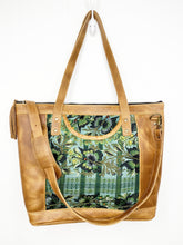 Load image into Gallery viewer, MoonLake Designs Olivia Large Tote Bag in light tan handcrafted leather close up of handwoven green floral huipil design and adjustable shoulder strap