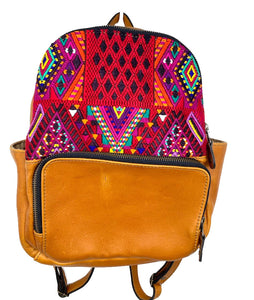 MoonLake Designs handmade Paloma small backpack in Pear Tan Leather with eye catching handwoven warm colors huipil design covering front top
