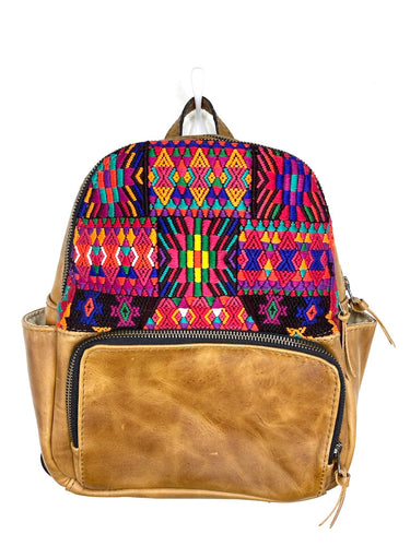 MoonLake Designs handmade Paloma small backpack in Light Tan Leather with eye catching handwoven warm colors mayan huipil design covering front top