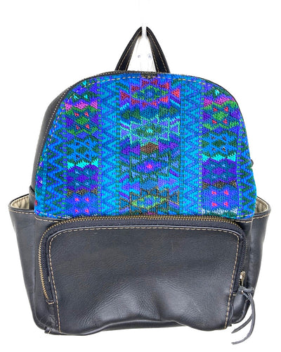MoonLake Designs handmade Paloma small backpack in Black Leather with eye catching handwoven blues and purple geometric huipil design covering front top