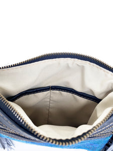 MoonLake Designs Penelope Flecos bag inside view of zippered bag closure and twin open pockets