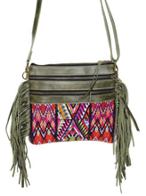 Load image into Gallery viewer, MoonLake Designs Penelope Flecos crossbody bag with fringe in green leather, 3 zipper compartments, and geometric huipil design
