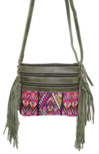 MoonLake Designs Penelope Flecos crossbody bag with fringe in green leather, 3 zipper compartments, and geometric huipil design