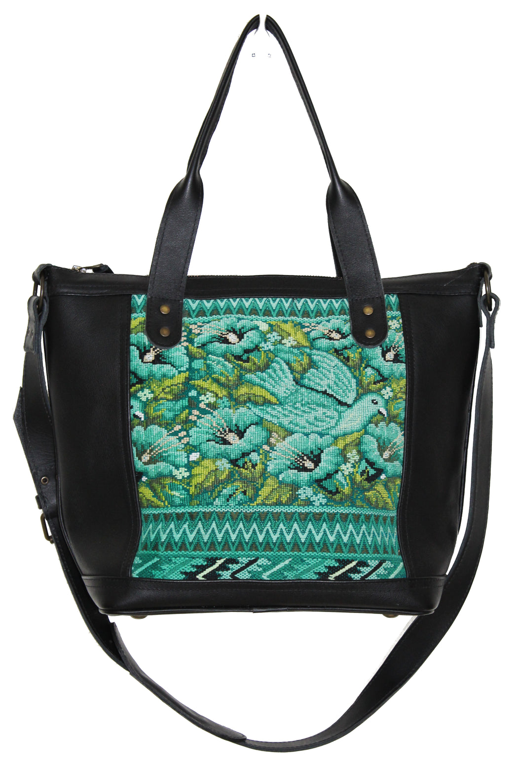 MoonLake Design Renata medium crossbody bag in black leather and captivating huipil design of birds and flowers in different shades of green