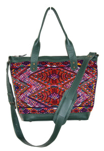 MoonLake Design Renata medium crossbody bag in dark green leather and captivating geometric huipil