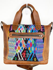 MoonLake Designs handmade Renata Medium Maleta Bag in Dark Tan with multiple colors huipil design
