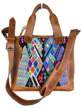 Load image into Gallery viewer, MoonLake Designs handmade Renata Medium Maleta Bag in Dark Tan with multiple colors geometric and symmetrical huipil design