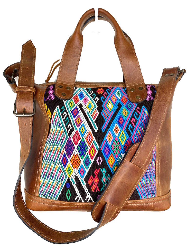 MoonLake Designs handmade Renata Medium Maleta Bag in Dark Tan with multiple colors geometric and symmetrical huipil design