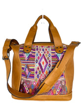 Load image into Gallery viewer, MoonLake Designs handmade Renata Medium Maleta Crossbody Bag in Pear Tan Leather with multiple colors pink based huipil design in geometric pattern