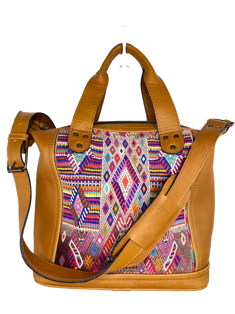 MoonLake Designs handmade Renata Medium Maleta Crossbody Bag in Pear Tan Leather with multiple colors pink based huipil design in geometric pattern