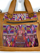 Load image into Gallery viewer, MoonLake Designs handmade Renata Medium Maleta Bag close up of huipil design and zippered pocket on front
