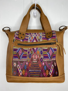 MoonLake Designs handmade Renata Medium Maleta Crossbody Bag in Pear Tan with multiple colors pink based huipil design