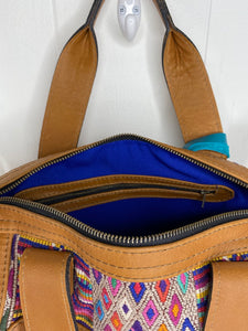 MoonLake Designs handmade Renata rich blue lined interior with zippered pocket and zippered bag closure