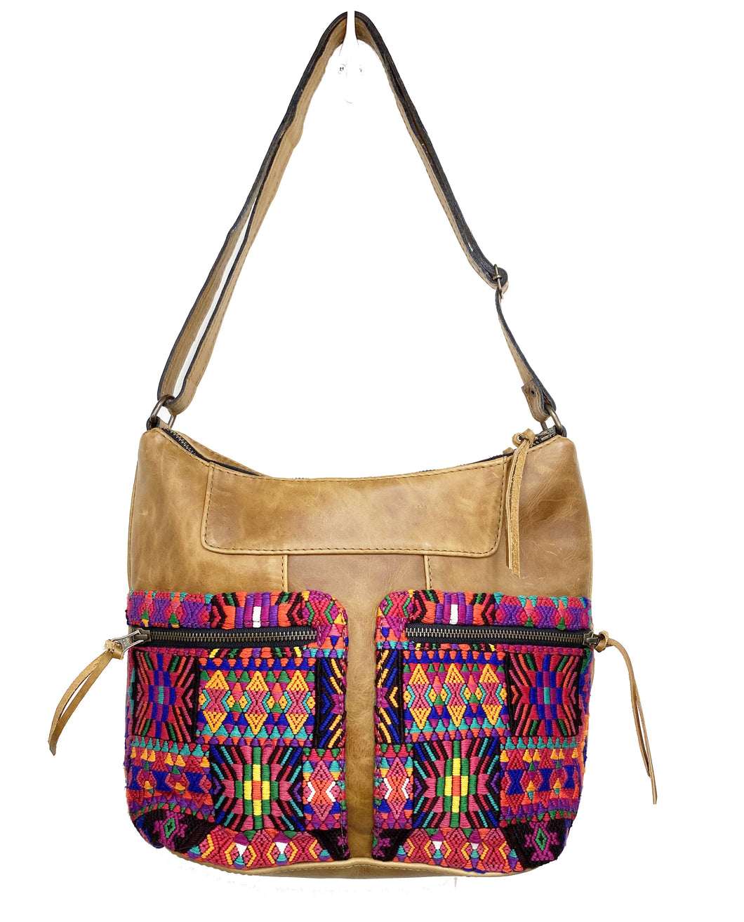 MoonLake Designs Rosa Crossbody in light tan leather with southwestern colors geometric huipil design on double zippered outer pockets and adjustable cross body strap