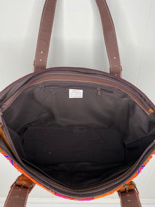 MoonLake Designs Small over the shoulder tote in brown leather inside view of dark cotton liner and zippered pocket