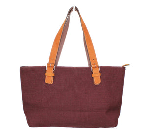 MoonLake Designs Small over the shoulder tote full cloth backview and adjustable leather drop handles