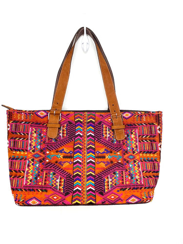 MoonLake Designs Small over the shoulder tote in brown leather with full textile huipil front in geometric desert colors with a full cloth back