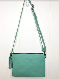MoonLake Designs Lola small bag and clutch in teal leather – back view of full leather