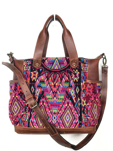MoonLake Designs handmade Gabriella Large Convertible Day Bag in Dark Tan Leather with multi-color handwoven huipil designs inlcuding pinks yellow orange and red
