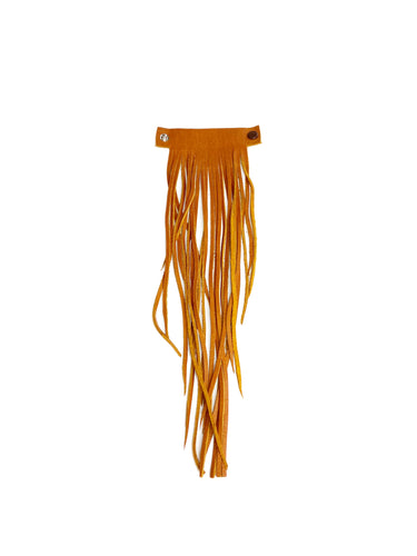 MoonLake Designs handcrafted large leather fringe tassel in pear tan